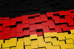 Germany flag background formed from digital mosaic tiles, 3D rendering. Modern 3D rendered concept of numerous square tiles sliding together to form the national Royalty Free Stock Photos