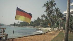 Germany Flag on beach background near ocean. Germany Flag on beach background stock video footage