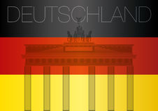 Germany flag and brandenburg gate stock photo