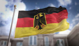 Germany Flag 3D Rendering on Blue Sky Building Background Stock Photo