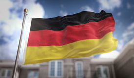 Germany Flag 3D Rendering on Blue Sky Building Background Royalty Free Stock Images