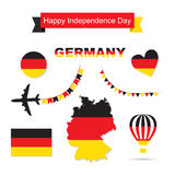 Germany flag decoration elements. Banners, labels, ribbons, icons, badges and other templates for design Royalty Free Stock Photo
