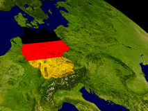 Germany with flag on Earth Stock Image