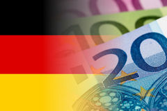 Germany flag with euro banknotes. Mixed image vector illustration