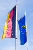 Germany flag and flag of Europe Royalty Free Stock Photo