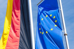 Germany flag and flag of Europe Stock Images