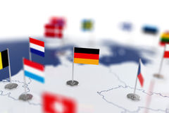 Germany flag in the focus. Europe map with countries flags Stock Photos