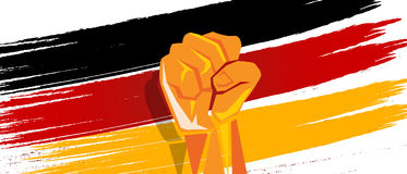 Germany flag independence painted brush stroke with hand fist fight patriotism. Vector Royalty Free Stock Images