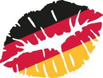 Germany flag kiss. Mouth vector stock illustration