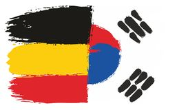 Germany Flag & Korea Republic Flag Vector Hand Painted with Rounded Brush. This image is a vector illustration and can be scaled to any size without loss of Royalty Free Stock Image