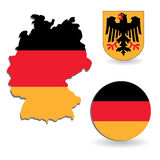 The Germany flag and map Stock Photo