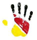 Germany flag palm print isolated Stock Image