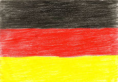 Germany flag, pencil drawing illustration kid style photo Royalty Free Stock Images