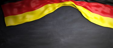Germany flag placed on blackboard background with copyspace. 3d illustration. Germany flag placed on chalkboard background with copyspace. 3d illustration Royalty Free Stock Photo