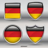Germany Flag in 4 shapes collection with clipping path stock images