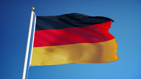 Germany flag in slow motion seamlessly looped with alpha stock video