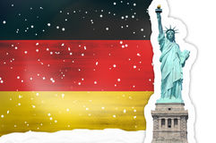 Germany Flag Snowflakes Statue of Liberty Royalty Free Stock Photography