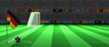 Germany flag on a soccer field. 3d illustration. Germany flag on a soccer football field. 3d illustration Royalty Free Stock Images