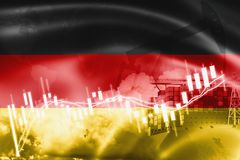 Germany flag, stock market, exchange economy and Trade, oil production, container ship in export and import business and logistics. Background, banner, black royalty free illustration