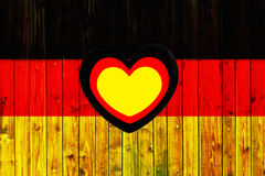 Germany flag symbol national country background patriotic textile europe german Wooden fence Heart. 2017 Stock Photography