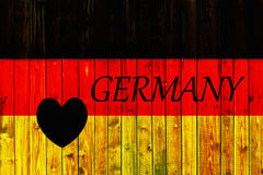 Germany flag symbol national country background patriotic textile europe german Wooden fence Heart Royalty Free Stock Photo