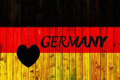 Germany flag symbol national country background patriotic textile europe german Wooden fence Heart Royalty Free Stock Images