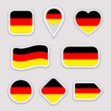 Germany flag vector set. German flags stickers collection. Isolated geometric icons. National symbols badges. Web, sport vector illustration