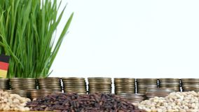 Germany flag waving with stack of money coins and piles of wheat. And rice seeds stock footage