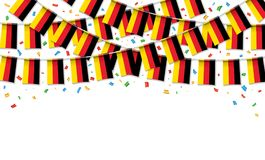 Germany flags garland white background with confetti. Hang bunting for German independence Day celebration template banner, Vector illustration Royalty Free Stock Image
