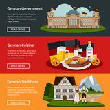 Germany Flat Horizontal Banners. With plate of national food government building and traditional symbols vector illustration stock illustration