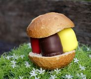 From germany, Foam kisses in national color in the little bread Stock Images