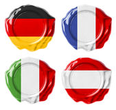 Germany, France, Italy, Austria national flag wax seals Royalty Free Stock Image