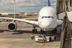 Airbus A380 in Frankfurt Royalty Free Stock Images