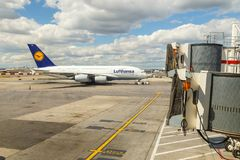 Airbus A380 in Frankfurt Stock Photo