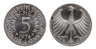 Germany german coin five 5 marks, circulation coin, silver , minted 1974 royalty free stock image