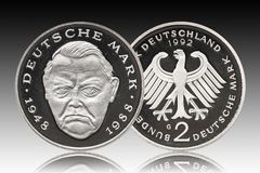 Germany german coin five 2 marks, proof coin, small change, minted 1992, background gradient stock photos