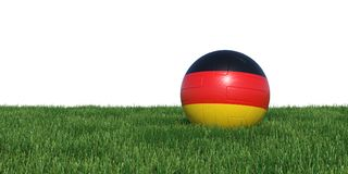 Germany German flag soccer ball lying in grass world cup 2018. Isolated on white background. 3D Rendering, Illustration Stock Photo