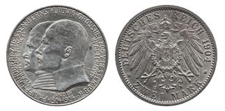 Germany German Hesse silver coin 2 two mark 1904 stock images
