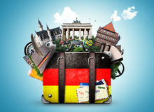 Germany. German landmarks, travel and retro suitcase royalty free stock images