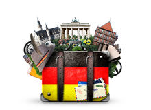 Germany. German landmarks, travel and retro suitcase Stock Photo