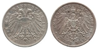 Germany German Lubeck silver coin 2 two mark 1904 royalty free stock image