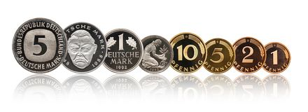 Germany German mark coins set, isolated on white royalty free stock photos