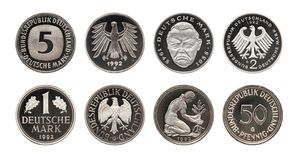 Germany German mark coins set, isolated on white royalty free stock image
