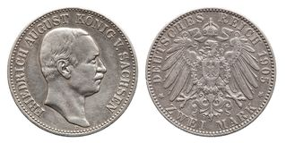 Germany German Saxonia silver coin 2 two mark 1905 royalty free stock image