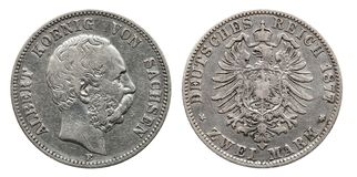 Germany German Saxonia silver coin 2 two mark 1876 royalty free stock photo