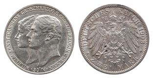Germany German Saxony Weimar Eisenach silver coin 2 two mark 1903 stock image