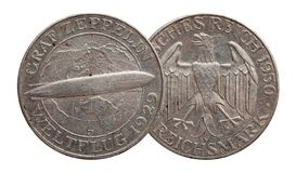 Germany German silver coin 5 five mark zeppelin Weimar Republic royalty free stock images
