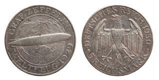 Germany German silver coin 5 five mark zeppelin Weimar Republic stock photos