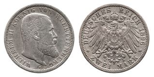 Germany German Wuerttemberg silver coin 2 two mark 1896 royalty free stock photo