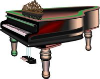 Germany grand piano. Germany black grand piano on white background Royalty Free Stock Images